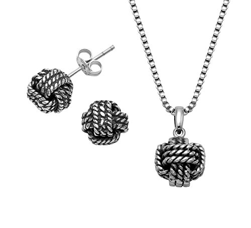 Stainless Steel Sailors Knot Pendant, 18' Box Chain & Matching Stud Earrings