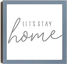 Let's Stay Home Sign   Ingelijst Hout Muur Art   Woonkamer Teken   Ingelijst Houten Teken   Groot Horizontaal Teken Houten...