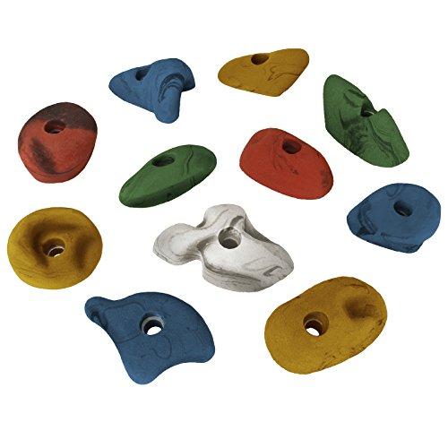 ALPIDEX 11 Klettergriffe Größe L und M - geeignet für Kinder, Anfänger Aber auch für Fortgeschrittene, Farbe:bunt