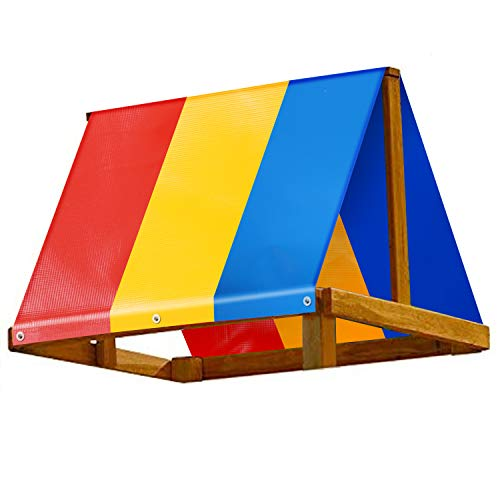 Swing Set Replacement Tarp 52' × 90', Colorful Playground Roof, Multicolor Backyard Playset Canopy Replacement 52 × 90 in, Kids Wooden Swingset Canvas Cover Replacement, Waterproof & UV Protection