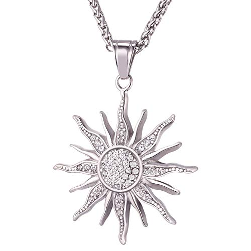 Girl Sunflower Necklace, Stainless Steel Cubic Zirconia CZ Gold Plated Sunflower Pendant, You Are My Sunshine Girl Jewelry Birthday Gifts,Silver