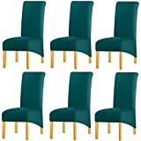 KELUINA Estiramiento sólido con respaldo alto Cubiertas de silla XL para comedor, fundas de silla de comedor grandes de Spandex para la vida en el hogar Restaurante Hotel (6 PACK,Verde azulado)