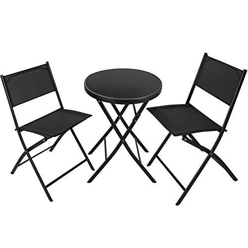 TecTake Set de Balcon ou Jardin, Salon de Jardin, 1 Table et 2 Chaises de Jardin Pliants, Noir
