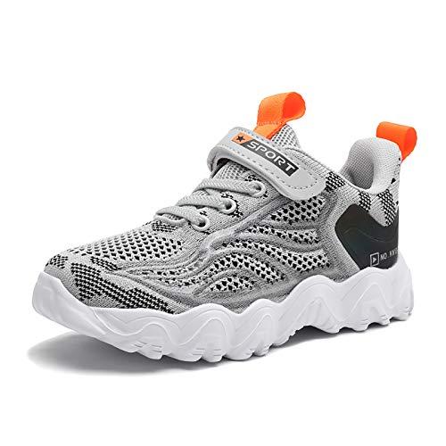 Zapatillas Deportivas Niño Bambas Niño Velcro Tenis Niño Ligeras Zapatos de Correr Transpirables para Niños Talla 34 EU,Gris