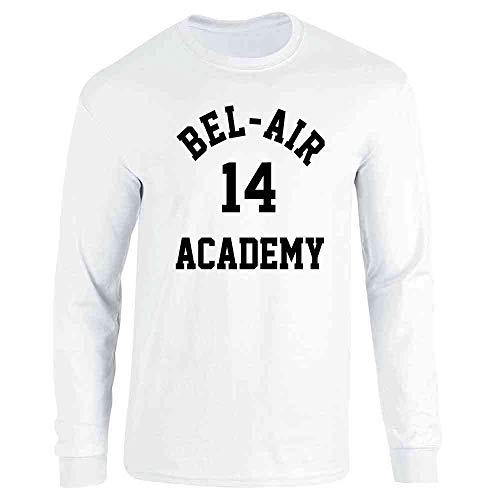 Pop Threads Bel-Air Academy Retro 90s TV Basketball White S Full Long Sleeve Tee T-Shirt