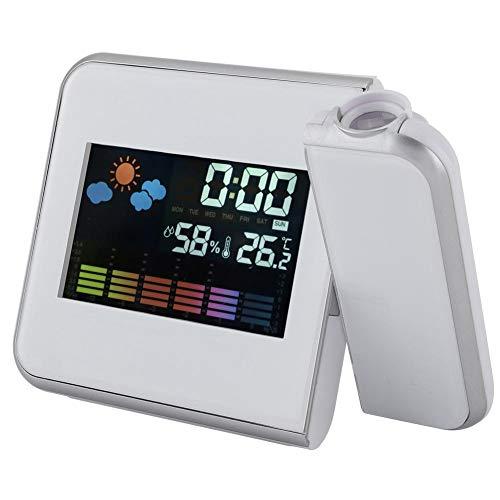 Digital LED USB Alarma Temperatura del Reloj Tiempo Pronóstico Proyector Calendario Humedad Pantalla Alarma para Habitaciones (2#)