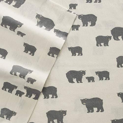 Eddie Bauer Home Bear Family Flannel Sheet Set, Twin, Grey