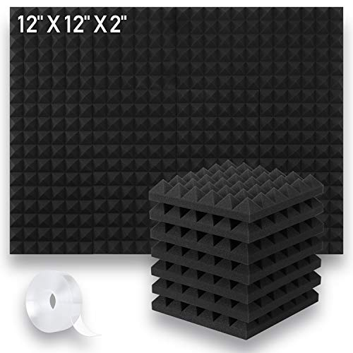 """Focusound 12 Pack Acoustic Foam Panels, 2"""" X 12"""" X 12"""" Soundproof Foam with Double Side Adhesive Tape, Black"""