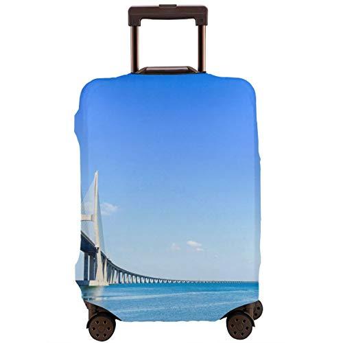 Nicokee Travel Luggage Cover Vasco Da Gama Bridge On Tagus River Europe Suitcase Protector Baggage Suitcase Cover Fits 18-32 Inch Luggage