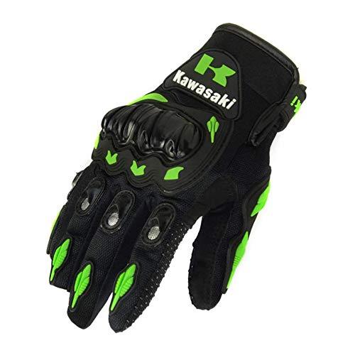 LYDQ Impermeable Finger Kawasaki Completa Guantes de Moto de Motocross Moto Guantes de protección Guante de Engranajes,L