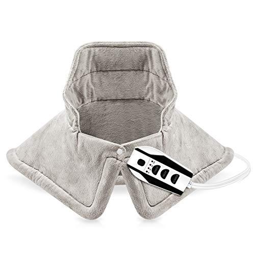 Yolife Elektrisches Nackenschulter-Heizkissen Nackenwärmer für Nackenschulter Rückenschmerzen lindern Nackenschulterwickel mit 4 Timer-Einstellungen 6 Temperatureinstellung (43 * 58cm)