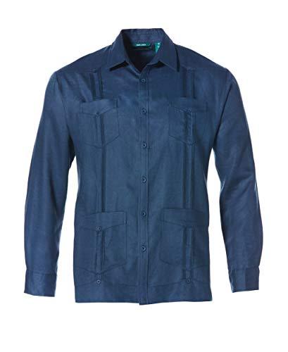 Cubavera Herren Long-Sleeve 100% Linen Guayabera Hemd, Blau (Ensign Blue), XX-Large