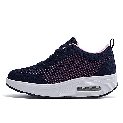 Zapatillas cuña Mujer Deportivas cuña Mujer Zapatos Deporte Gimnasio Zapatillas de Running Ligero Sneakers Cómodos Fitness Zapatos de Trabajo Azul D 36EU