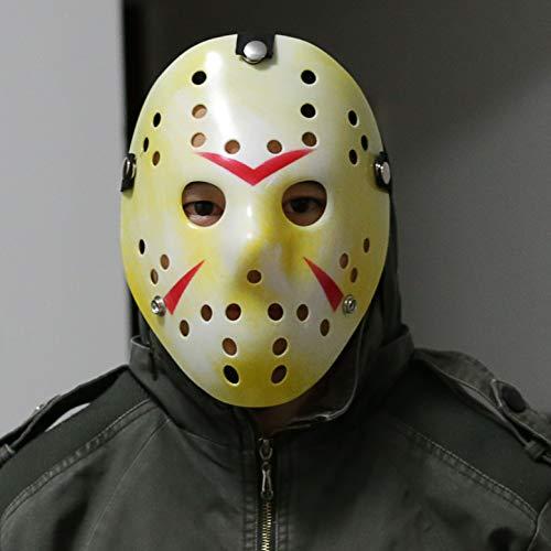 DukeTea Disfraz de máscara de Jason, viernes el 13º Jason Voorhees máscara de hockey para niños y adultos Halloween Cosplay fiesta de mascarada (amarillo)