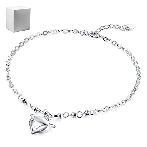 S925 Sterling Silver Fashion Anklet Unique Small Fox Galvanised Polishing Allergies Prevention Adjustable Anklet Women The Best Choice for Gift