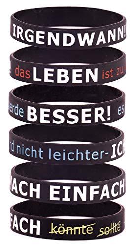 Motivationsarmbänder auf Deutsch Inspirierende Silikon Armbänder 6-teilig Armbandset für Herren,Damen, Sport-Party-Dekoration-Geschenk, Motiv Leben , Grösse: Erwachsene/Adult/Teens mit Geschenkbox