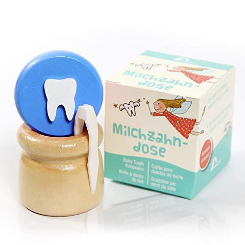Amazy Milchzahndose inkl. Pinzette und Zahnfee Brief – Niedliche Zahndose aus Holz mit Schraubverschluss zur Aufbewahrung der Milchzähne und Zahnfeebrief für den ersten Wackelzahn (Klein | Blau)