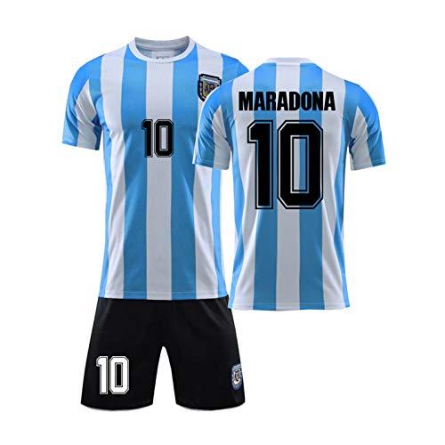 MILAOSHU Argentina Home Soccer Jersey Diego Maradona # 10 Uniforme De Fútbol para Adultos Y Niños 1986 Retro Camiseta Conmemorativa Copa del Mundo