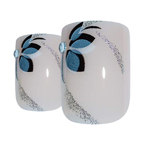 Faux Ongles Bling Art Blanc Noir Fleur 24 Squoval Moyen Faux bouts d'ongles acrylique avec de la colle
