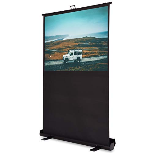 Review 60 inch 4:3 Portable Floor Pull up Aluminium Case Projection Screen, Overall Size: 53.5x16x82 inches, Weight 22 Pound, Ideal for Home Theater Movies, Conference Room Presentations and etc.