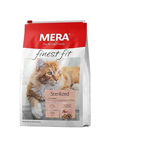 MERA finest fit Sterilized Katzenfutter – Weizenfreies Trockenfutter mit frischem Geflügel und Reis für die bedarfsgerechte Ernährung nach einer Kastraton oder Sterilisation