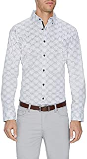 Tarocash Men's Jetson Slim Stretch Print Shirt Slim Fit Long Sleeve Sizes XS-5XL for Going Out Smart Occasionwear
