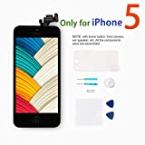 Screen Replacement for iPhone 5 [Black] - Giorefix LCD Touch Display Digitizer Include Home Button + Front Camera Full Pre-Assembly Kit with Repair Tools + Screen Protector