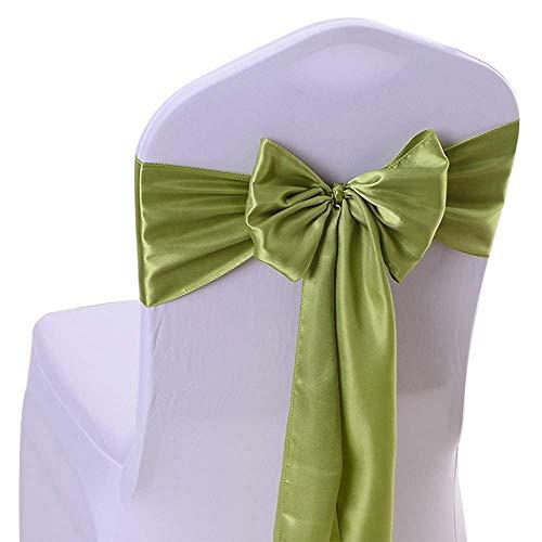 KELUINA Satijn Sashes Stoel Cover Bows, Satijn Stoel Sashes voor bruiloften, Satijn Stoel Bows10 PCS/50PC/100PCS Banket Party Decoratie Stoel Cover Sash,20 Kleuren Optie Groen