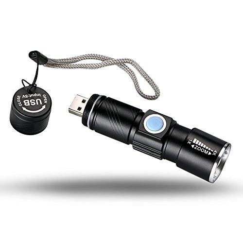 Mini linterna LED Q5, súper brillante, 1000 lm, 3 modos, recargable por USB, zoom ajustable, foco ajustable, para deportes al aire libre, senderismo, pesca, camping