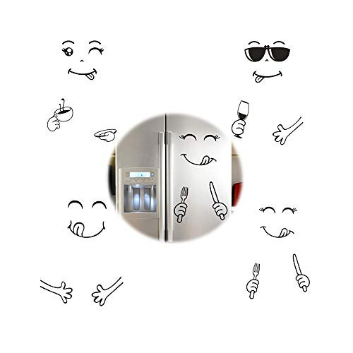 SoundZero 8 pcs Pegatina Refrigerador, Lindo Etiqueta Nevera Cara Sonriente Cocina Nevera Pegatinas De Pared Arte Smiley Monocromo Divertidas Y Creativas Decoración del Hogar Pegatinas