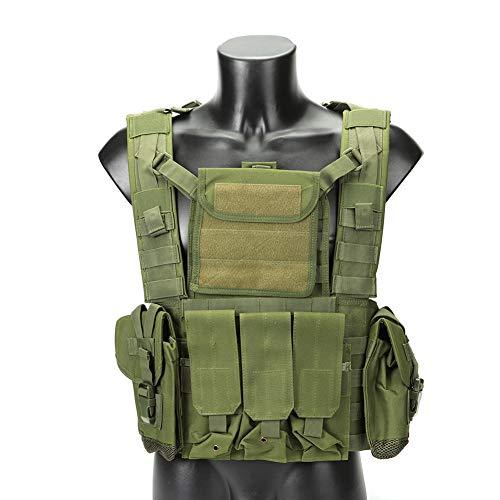 QAQ QP Taktische Weste Multi-Funktions-Weste Nylon Feld Kampf Survival Training Bergsteigen Schießen Selbstverteidigung Schutzausrüstung Schwarz Grün Schlamm Farbe Camouflage,Green