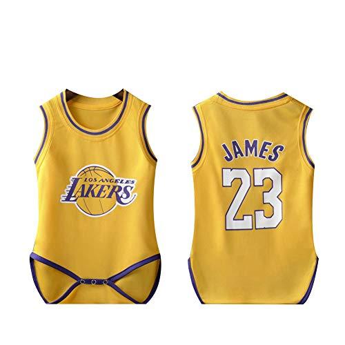 Kinder Basketball Trikot #23 LeBron James Lakers Baby Siamese Basketball Uniform Krabbelanzug, 123, gelb, 12(10~14kg)
