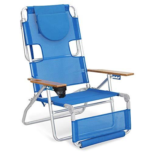 Sigtua Silla Plegable de Playa Tumbona 5 Posiciones Apoyabrazos Ajustables con reposacabezas Cosido, Correa portátil, Portavasos, 130x73x100cm Azul