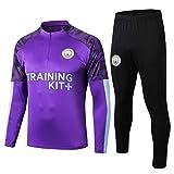 LCSA Chándal 2021 Manchester para hombre, con media cremallera, manga larga, traje de equipo, 1920 Purple-M