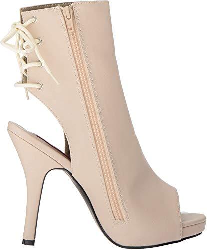Pleaser Pink Label Damen Eve-102 Stiefel, Beige (Cream Faux Leather CRPU), 43 EU