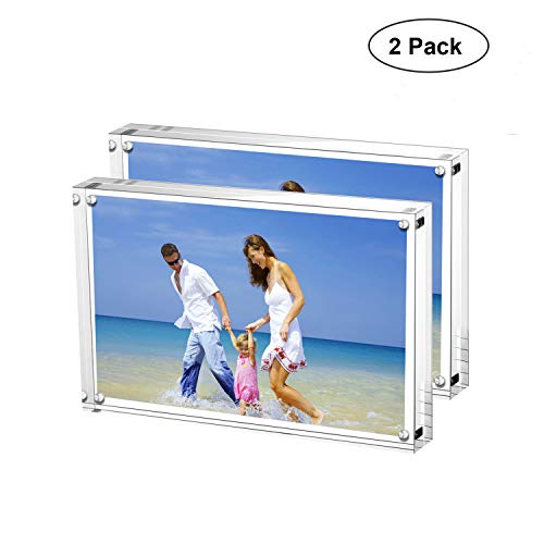 AmeiTech Acrylic Photo Frames,3.5x5'' Double Sided Magnetic Picture Frame, Desktop Frameless Postcard Display (2 Pack) Double Picture Frame Magnet
