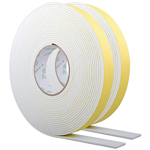 """Foam Strips with Adhesive, High Density Insulation Tape, Weather Stripping for Plumbing, Cooling, Pipes, Sealing, Air Conditioning, HVAC, Sliding Door, Craft Tape (White, 66Ft x 1/8"""" x 1"""")"""