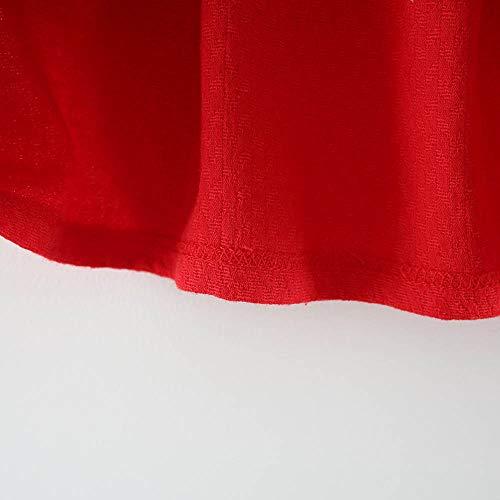 LANSKIRT Ropa de Recién Nacido Infantil bebé niñas Vestido Estampado de Flores del Arco Princesa Vestido de Manga Larga Otoño e Invierno Jumpsuit (1_Rojo, 6-12 Mes)