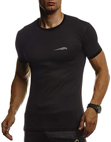 Leif Nelson Gym Herren Fitness T-Shirt Slim Fit Moderner Männer Bodybuilder Trainingsshirt Kurzarm Top Herren Sport T-Shirt - Bekleidung für Bodybuilding Training LN8321 Schwarz-Silber Large