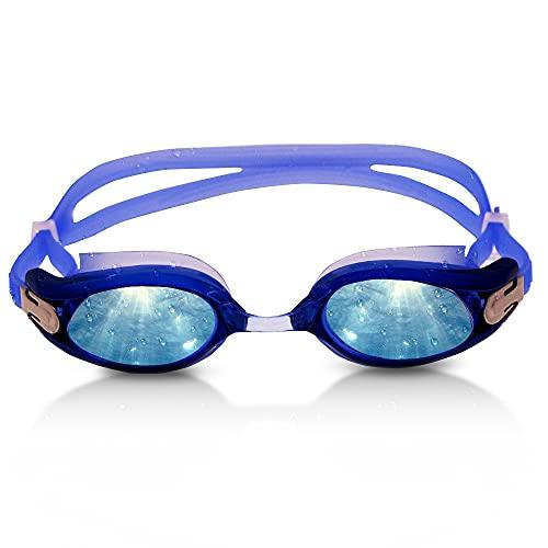 RABIGALA Gafas de natación antivaho para interiores y exteriores, con protección UV, lentes transparentes de espejo para niños, hombres y mujeres, color azul