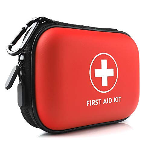 Mini First Aid Kit, 100 Pieces Small Water-Resistant Hard Shell Case - Perfect for Travel, Outdoor, Home, Office, Camping, Hiking, Car (Red)