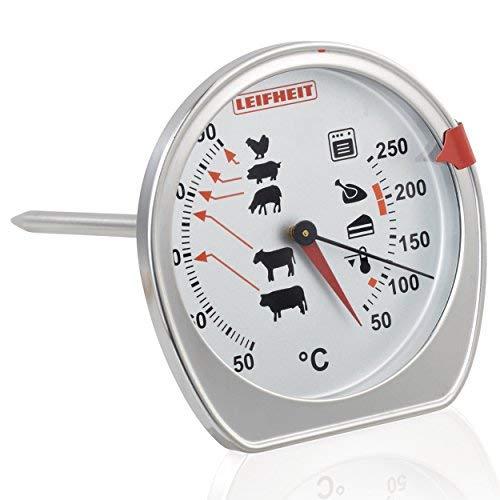 Leifheit Braten- und Ofenthermometer, kombinierte Anzeige für Ofentemperatur und Kerntemperatur auf einem Blick, Grillthermometer mit Skala für ideale Garpunkte, spülmaschinengeeignet, Edelstahl