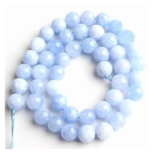 HETHYAN Cuentas de piedra azul natural redondas espaciadoras sueltas de 15 pulgadas, 6/8/10/12 mm, para hacer joyas, pulseras y collares (tamaño: 6 mm, 61 unidades)