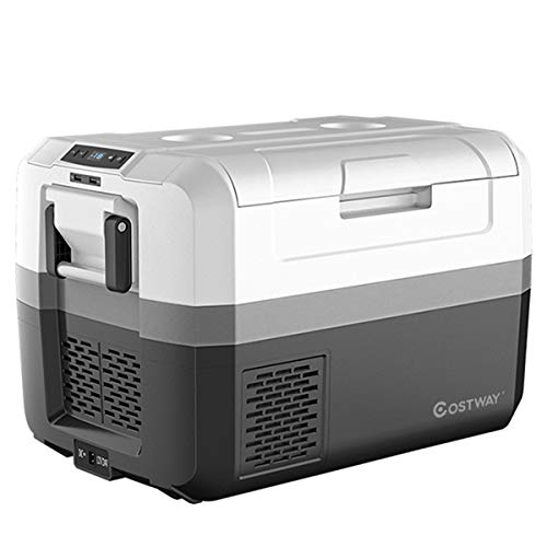 COSTWAY Portable Car Refrigerator, -14.8°F to 50°F, 48-Quart Compressor Travel Fridge with Two-Way Open Door, Operating Panel, Groove Design, Compact RV Freezer and Cooler for Outdoor and Home Use