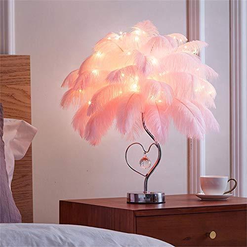Shulan Shop Kitchen Lámpara De Mesita De Noche LED Lámpara De Mesa Lámpara De Pluma Blanca Rosa Atenuación Luz Nocturna