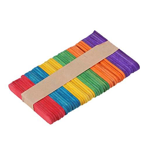 Supvox 50 Stücke Holz Eisstiele Bunte Holzstäbchen Popsicle Sticks Holzspatel Holzstiele zum Basteln für Eiscreme Kinder DIY Handwerk