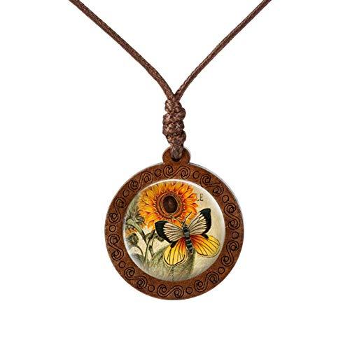 YUNMENG Collar de Madera con cabujón de Cristal con diseño de Mariposa y Flor de Girasol Amarillo, joyería de Moda, Cadena de suéter, Collar Largo, Regalo para Mujer