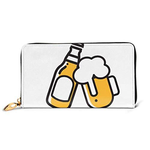 JHGFG Mode Handtasche Reißverschluss Brieftasche Bier Icon Thin Line Web Handy Clutch Geldbörse Abendkupplung Blocking Leder Brieftasche Multi Card Organizer