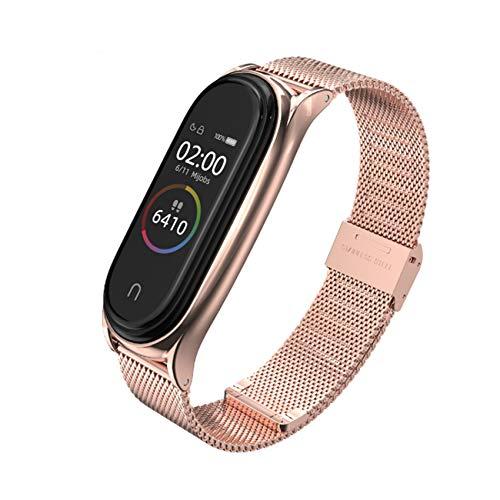 EasyULT Xiaomi Band 6/5/4/3 Metall Armband, Ersatzband Wasserdicht Edelstahl Strap Armband Zubehör mit Entfernungswerkzeug für Xiaomi Mi Band 6/5/4/3(Fitness Tracker Nicht Enthalten) (Roségold)