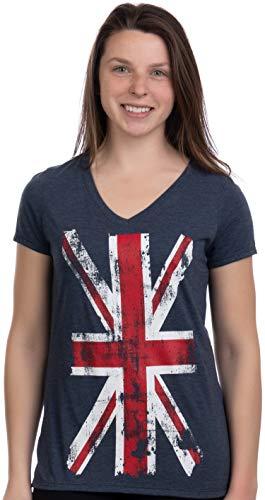 Union Jack Flag | UK United Kingdom Great Britain British Women Girl T-Shirt Top-(Vneck,M) Vintage Navy
